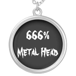666%Metal Head Round Pendant Necklace
