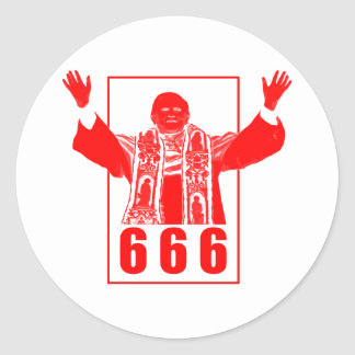 666 Pope Round Stickers