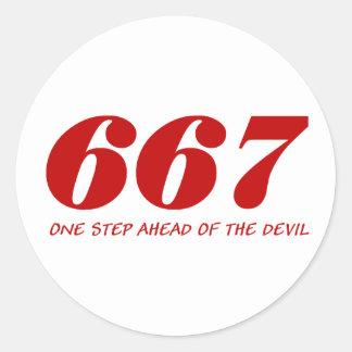 667 - One step Ahead OF The Devil - talk Round Sticker