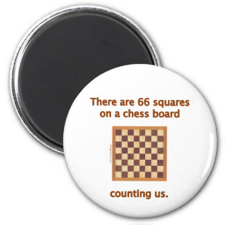 66 Chess Squares 6 Cm Round Magnet