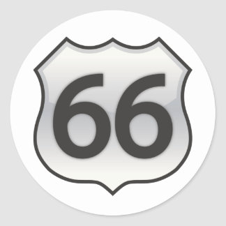 66 sign round sticker