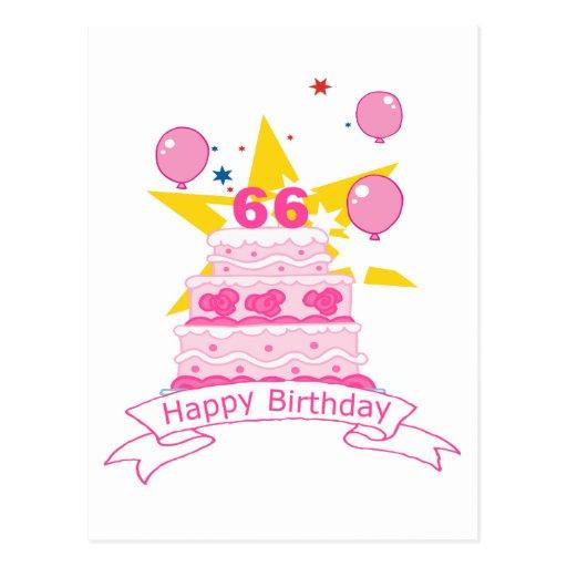 66 Year Old Birthday Cake Postcard