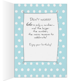 66th Birthday Cake on Blue Teal with Dots Card