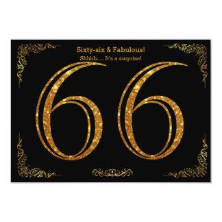 66th Birthday party,Gatsby styl,black gold glitter Card