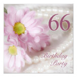 66th Birthday party invitation with daisies