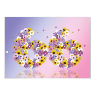 """66th Birthday party, with flowered letters 5"""" X 7"""" Invitation Card"""