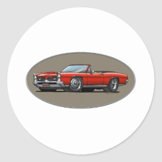 67 GTO_Red_Convertible Round Sticker