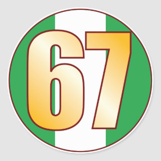 67 NIGERIA Gold Classic Round Sticker