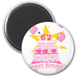 67 Year Old Birthday Cake 6 Cm Round Magnet