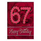 67th birthday card with roses and leaves