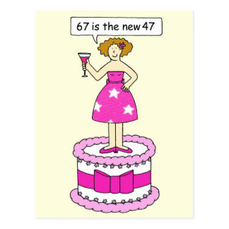 67th Birthday lady on a cake age humor. Postcard