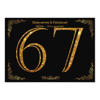 67th Birthday party,Gatsby styl,black gold glitter Card
