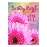 67th Birthday party invitation with pink flowers