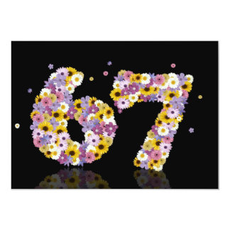 67th Birthday party, with flowered letters Custom Invitation