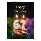 67th Birthday with cake and candles Card