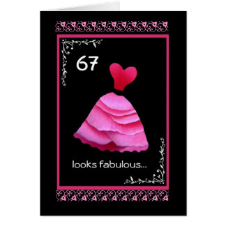67th Fabulous Birthday with Pink Dress Card