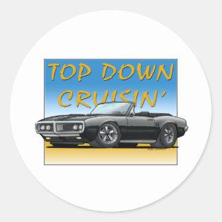 68 Firebird black convertible Round Sticker