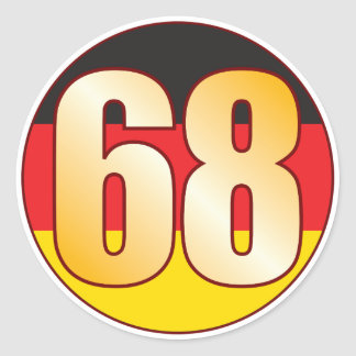 68 GERMANY Gold Classic Round Sticker