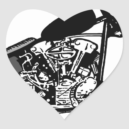 68 Knuckle Head Motorcycle Heart Stickers