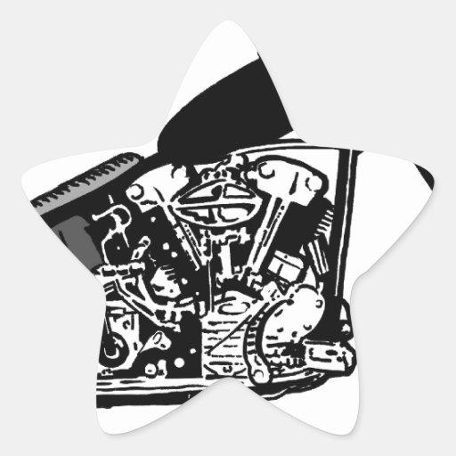 68 Knuckle Head Motorcycle Star Sticker