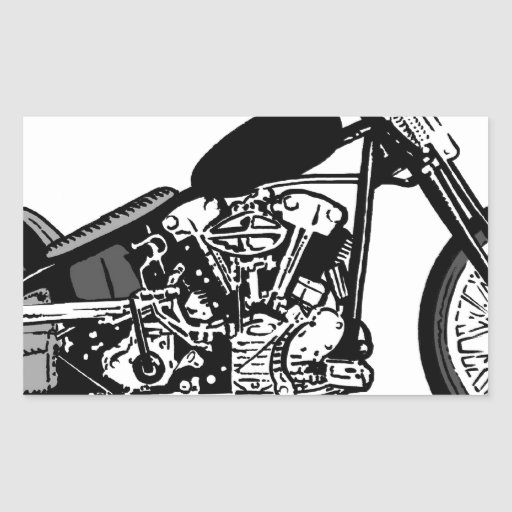 68 Knuckle Head Motorcycle Rectangle Stickers