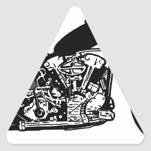 68 Knuckle Head Motorcycle Triangle Stickers
