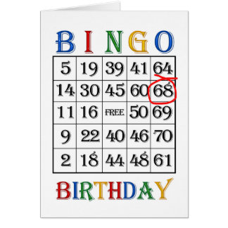 68th Birthday Bingo card