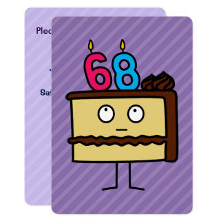 68th Birthday Cake with Candles 13 Cm X 18 Cm Invitation Card