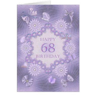 68th birthday card with lavender flowers