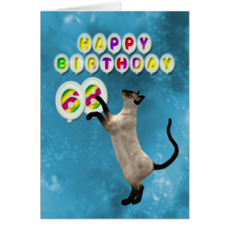 68th Birthday card with siamese cats