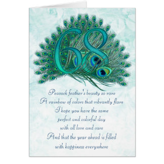 68th birthday decorative numbered cards