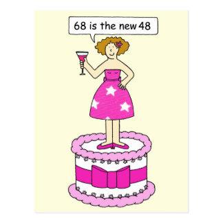 68th Birthday gae humour, lady on a cake. Postcard