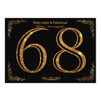 68th Birthday party,Gatsby styl,black gold glitter Card