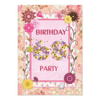 68th birthday party invitation with floral frame