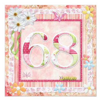 """68th birthday party scrapbooking style 5.25"""" square invitation card"""