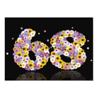 68th Birthday party, with flowered letters 13 Cm X 18 Cm Invitation Card