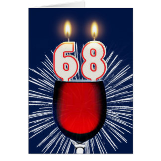 68th Birthday with wine and candles Card