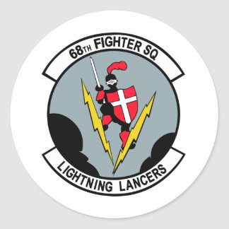 68th Fighter Squadron Lighting Lancers Round Sticker