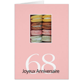 68th French Birthday Macaron-Joyeux Anniversaire Greeting Cards