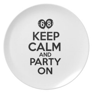 68th year birthday designs party plates