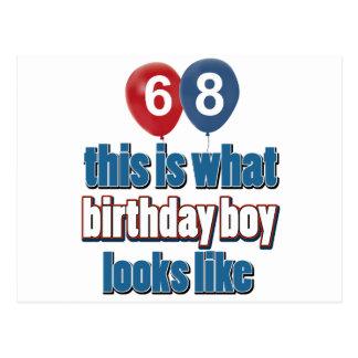 68th year birthday designs postcard