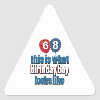 68th year birthday designs triangle sticker