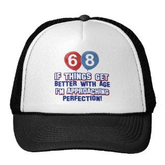 68th year old birthday design hats
