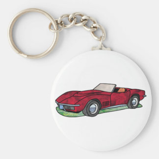 69 Corvette Sting Ray Roadster Basic Round Button Key Ring