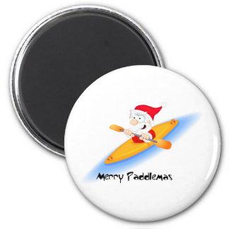 69_santa_paddler 6 cm round magnet
