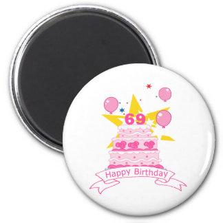69 Year Old Birthday Cake 6 Cm Round Magnet