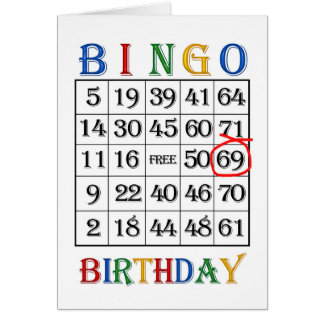 69th Birthday Bingo card