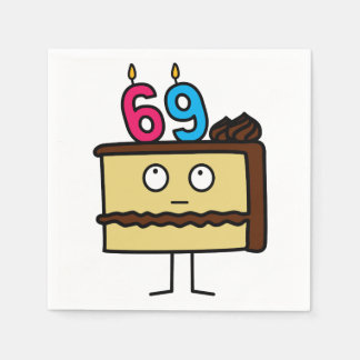 69th Birthday Cake with Candles Disposable Serviette
