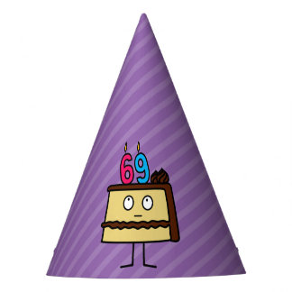 69th Birthday Cake with Candles Party Hat