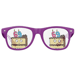 69th Birthday Cake with Candles Retro Sunglasses
